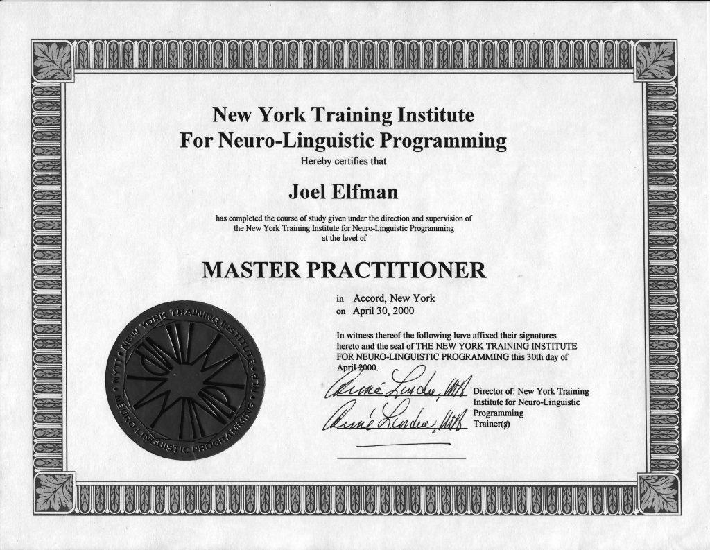 nlp-master-practitioner-certificate-nyti-2000 - Joel Elfman